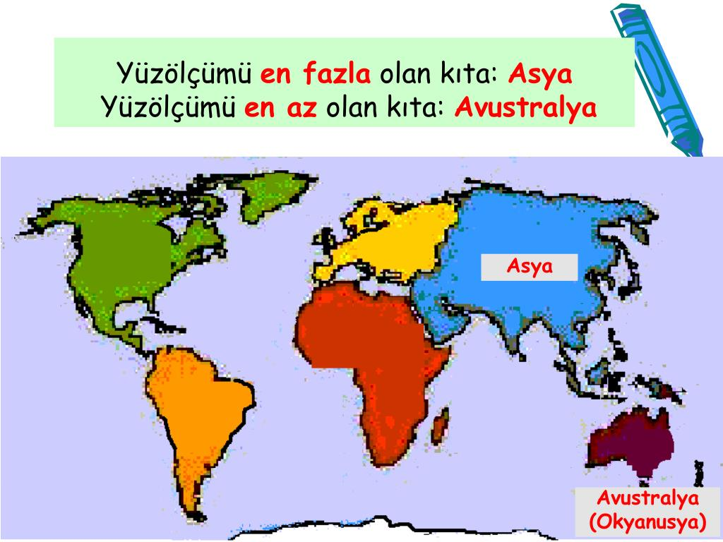 kıtaların büyükten küçüğe sıralanışı
